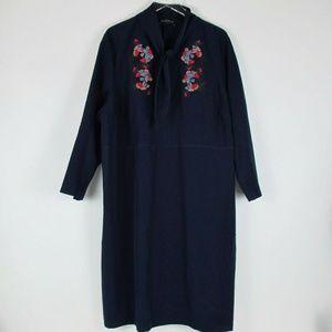 Eloquii Womens Blue Dress Embroidered Long Sleeve